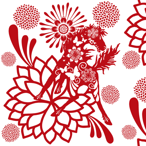 Abundant Beauty  Chinese paper cutting fabric by paragonstudios on Spoonflower - custom fabric