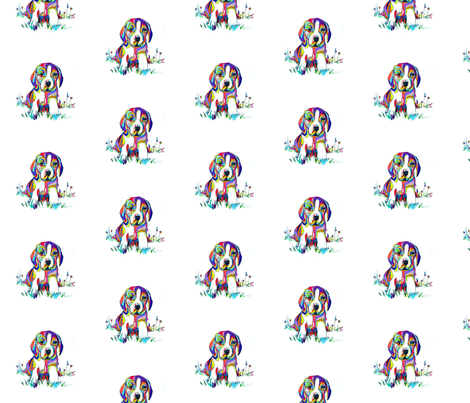 Smaller Print Colorful Beagle Painting  fabric by theartwerks on Spoonflower - custom fabric