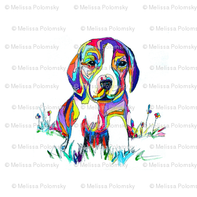 Smaller Print Colorful Beagle Painting