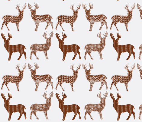 Brown Meadow Deer on White LARGE SCALE fabric by kbexquisites on Spoonflower - custom fabric