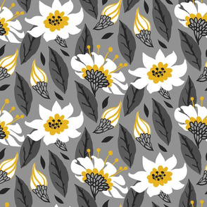 Daisies on rich grey