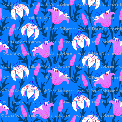 Tulips and lilies at night