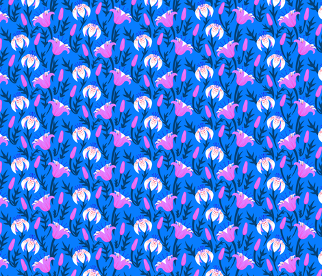Tulips and lilies at night fabric by daria_rosen on Spoonflower - custom fabric