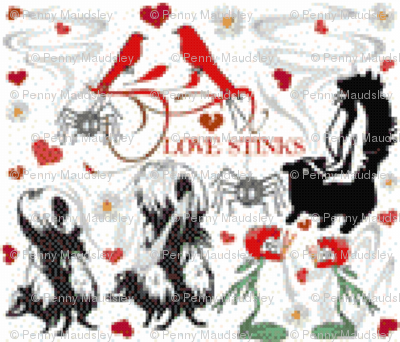 LOVE STINKS CROSS STITCH