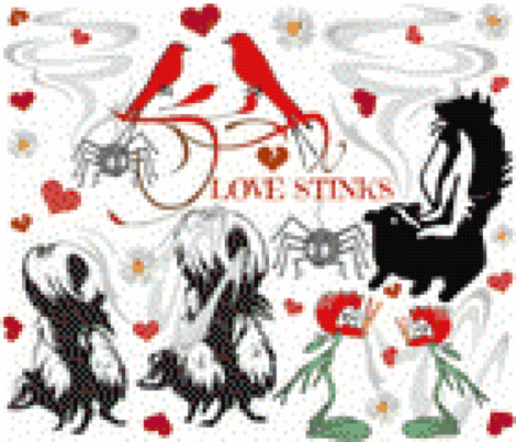 LOVE STINKS CROSS STITCH fabric by bluevelvet on Spoonflower - custom fabric