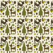 Green & Brown Deer Pattern