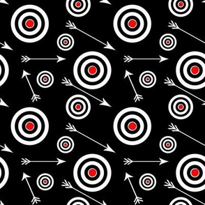 Targets and arrows on black