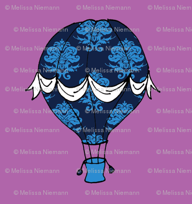 Phileas Fogg's Balloon in blue damask