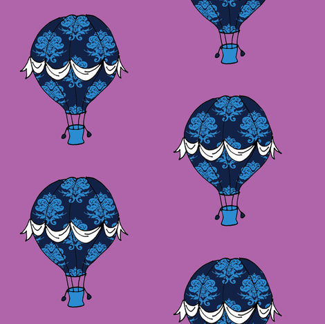 Phileas Fogg's Balloon in blue damask fabric by littleliteraryclassics on Spoonflower - custom fabric