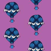 Phileas Fogg's Balloon in blue damask