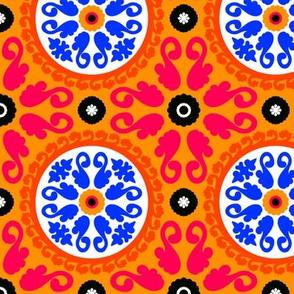 Orange blue suzani