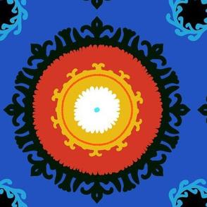 Classic suzani in deep blue