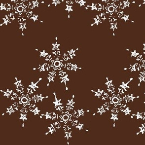 snowflakes on chocolate brown