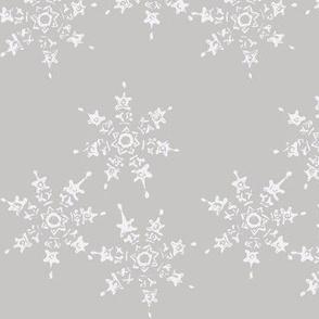 snowflake flurry on grey winter sky