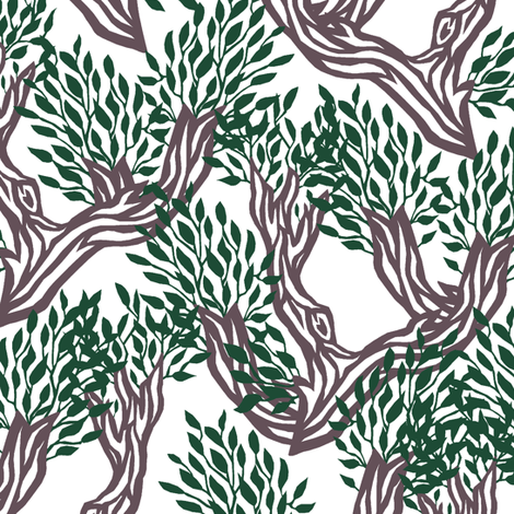 Summer Branch Paper Cut fabric by pond_ripple on Spoonflower - custom fabric