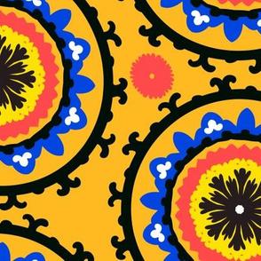 Classic suzani in bright yellow