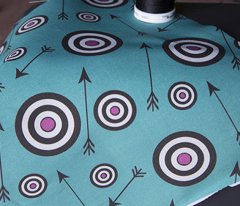 Targets in pink and turquoise