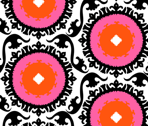 Suzani - pink flowers fabric by tukkki on Spoonflower - custom fabric
