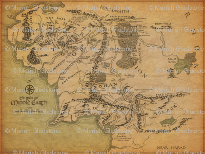 Middle Earth Map 42""