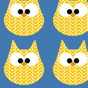 HOOTS in yellow on blue