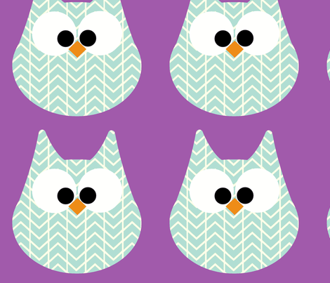 HOOTS in blue on purple fabric by scorpiusblue on Spoonflower - custom fabric