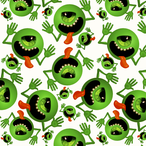 The Green Eyed Monsters fabric by whimzwhirled on Spoonflower - custom fabric