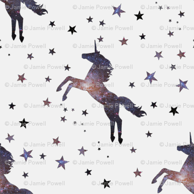 Cosmic unicorn fabric jamiepowell spoonflower for Space unicorn fabric
