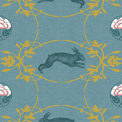 Hare + Lotus Damask (in duck egg blue)