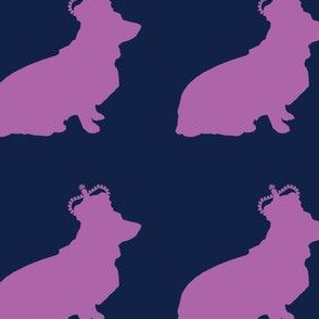 Royal Corgi in Purple and Navy