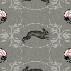 Hare + Lotus Damask (in pepper)