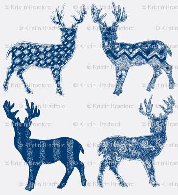 Navy Blue Meadow Deer on White