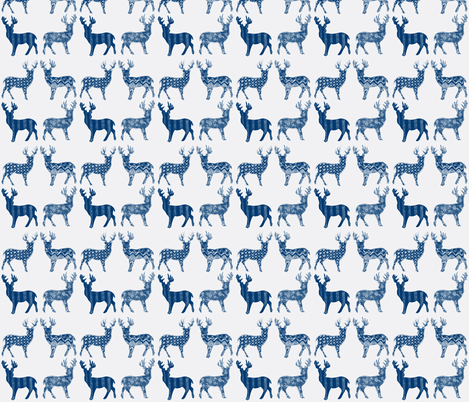 Navy Blue Meadow Deer on White fabric by kbexquisites on Spoonflower - custom fabric