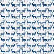 Navy Blue Meadow Deer on White