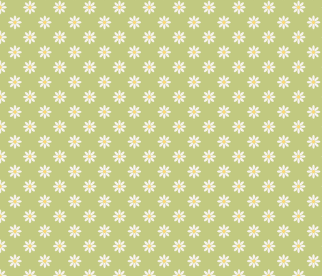 marguerite_fond_vert_M fabric by nadja_petremand on Spoonflower - custom fabric