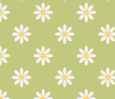 marguerite_fond_vert_L fabric by nadja_petremand on Spoonflower - custom fabric