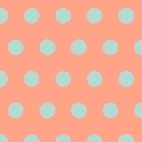 seafoam and salmon - big polka dots