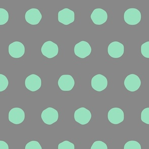 charcoal and mint - big polka dots