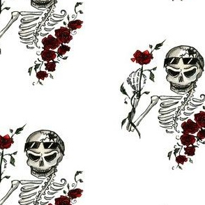 Skeleton & Roses, Large, White