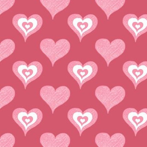 Hearts in Coral and Pink