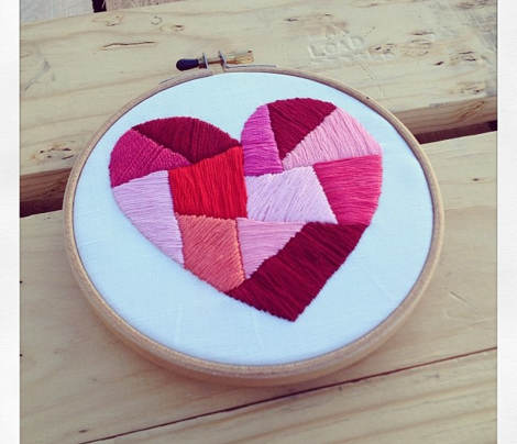 Faceted Heart Embroidery Pattern