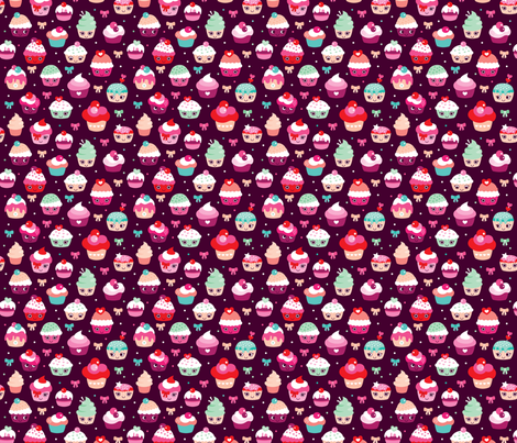 Lovely kawaii birthday cupcake party fabric by littlesmilemakers on Spoonflower - custom fabric
