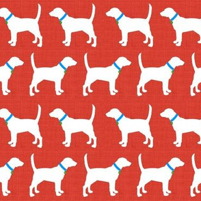 Foxhounds on red linen