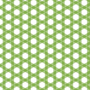 Triangle Gingham  -Apples Leaf Green and White