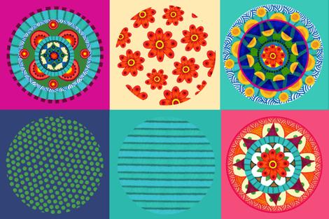 Mandala collection of three mandalas and three coordinates fabric by mcuetara on Spoonflower - custom fabric