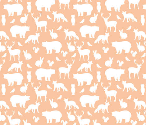 Woodland party on salmon fabric by >>mintpeony<< on Spoonflower - custom fabric
