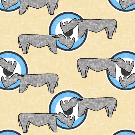 Rhino meet and greet on sand fabric by su_g on Spoonflower - custom fabric