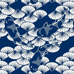 koi papercuts blue