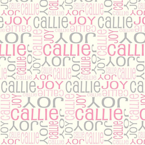 Personalised Name Fabric - Pinks and Grey on Cream