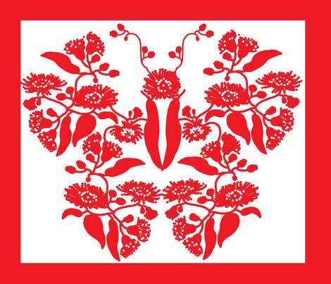 Gumnut flower butterfly fabric by mezzones on Spoonflower - custom fabric