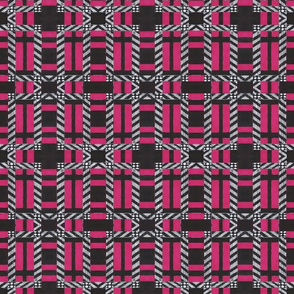 Plaid in dark pink white and black